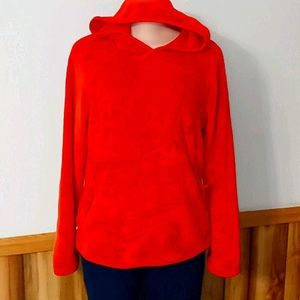 fluffy red hoodie